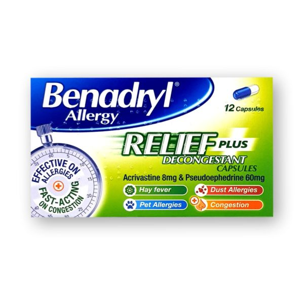 Benadryl Allergy Relief Plus Decongestant Capsules 12's