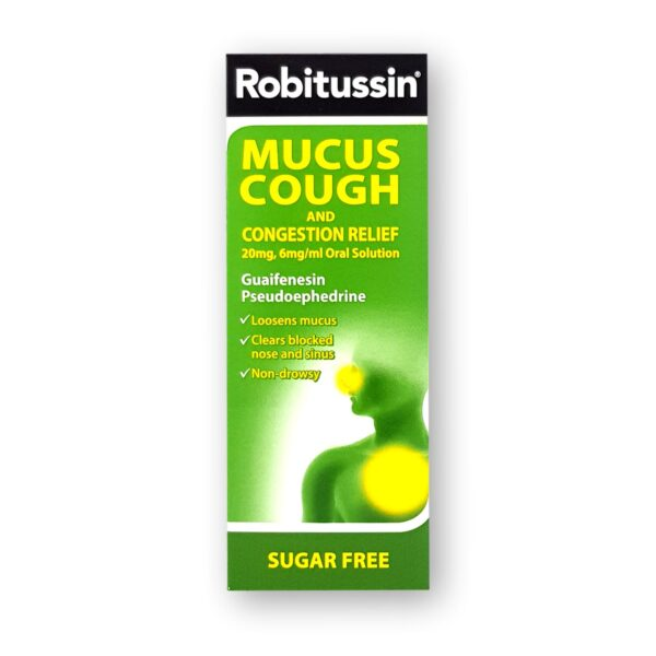 Robitussin Mucus Cough and Congestion Relief 20mg 6mgml Oral Solution 100ml