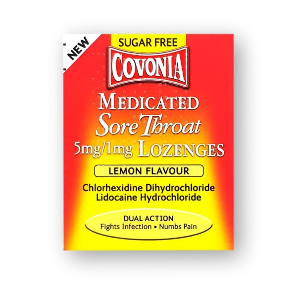 Covonia Medicated Sore Throat Lozenges Lemon Flavour 36's
