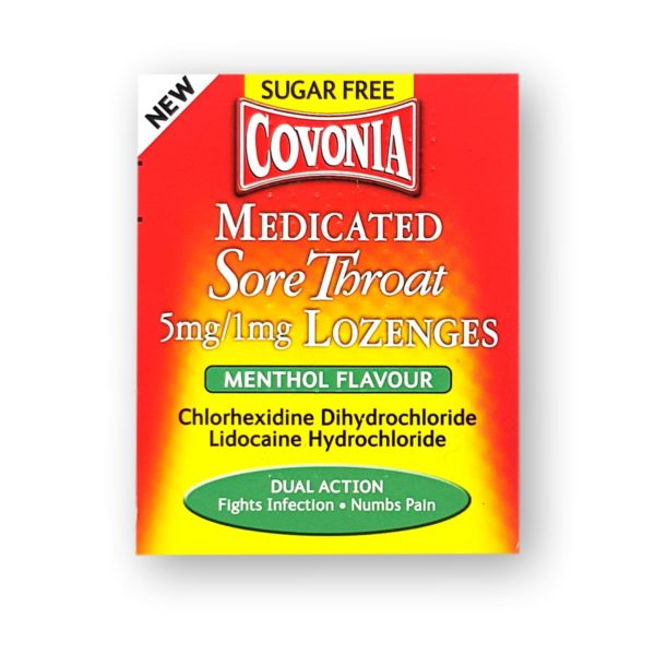 Covonia Medicated Sore Throat Lozenges Menthol Flavour 36's