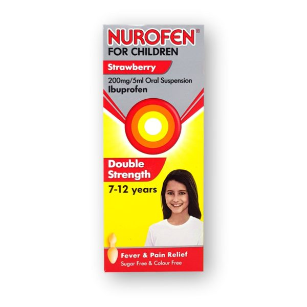 Nurofen For Children Strawberry 200mg/5ml Oral Suspension 7-12 Years Double Strength 100ml