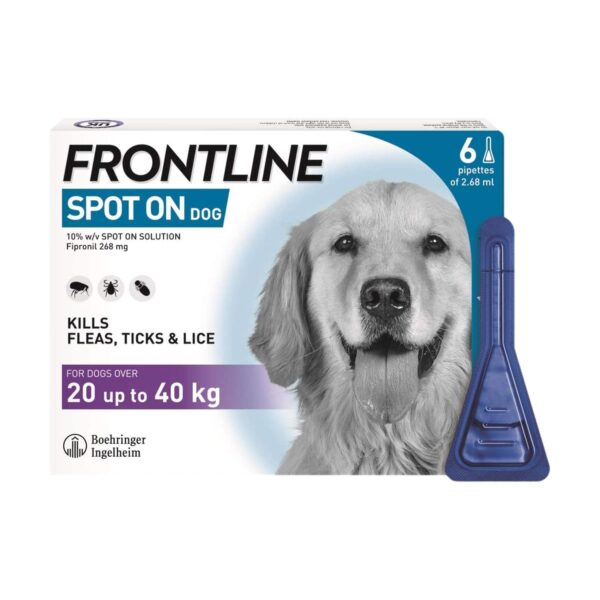 Frontline Spot On Flea & Tick Treatment for Large Dogs (20-40 kg) Pipettes 6's