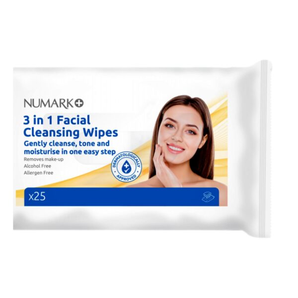 Numark 3 in 1 Facial Cleansing Wipes 25's